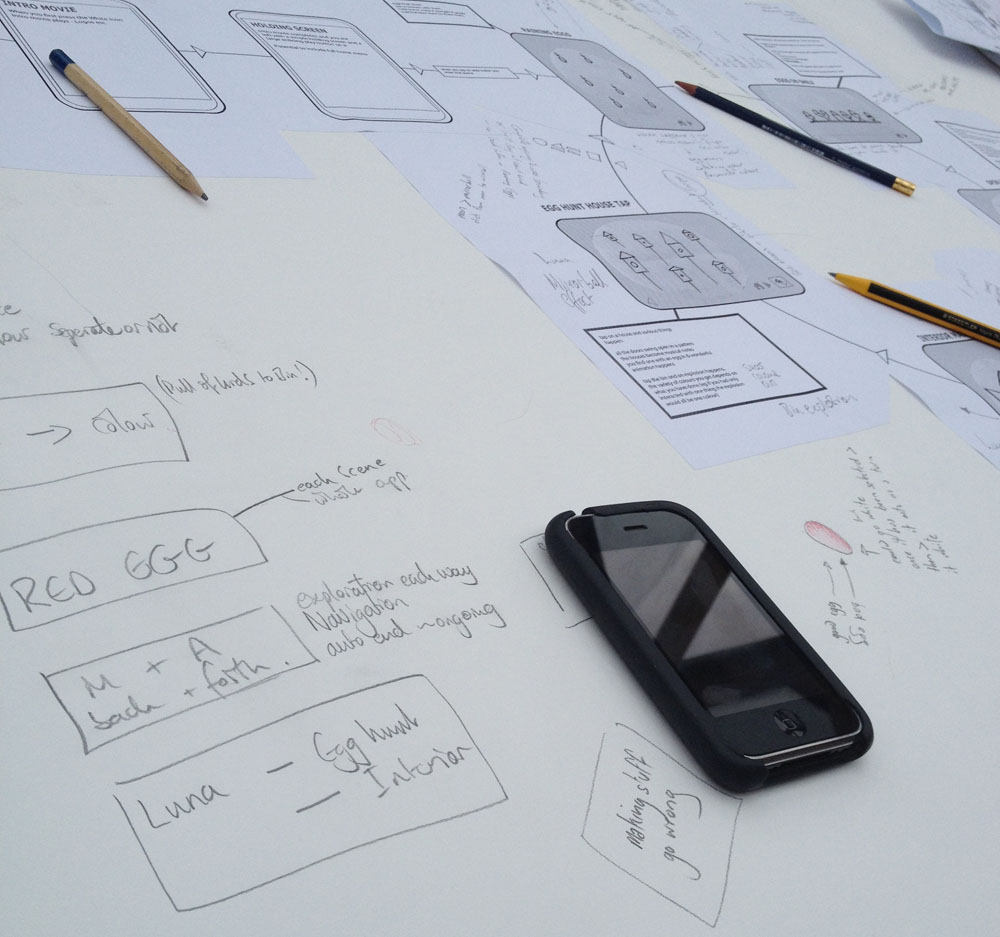Early wireframe diagram of White The App